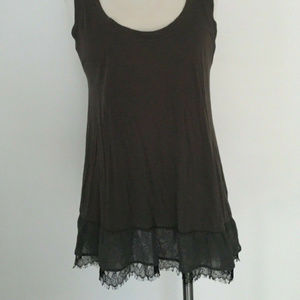 Theory Lace Trim Tank Gray-Brown Large
